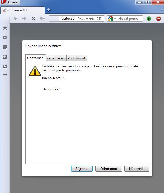 Chyba certifikátu vám nahlásí už prohlížeč. Měli byste zpozornět, protože web, který chcete navštívit, zřejmě nebude ten skutečný.