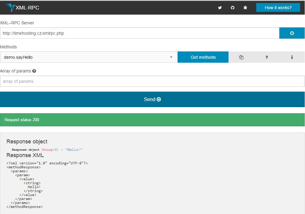 Na xmlrpc.php byl poslán jednoduchý pozdrav.