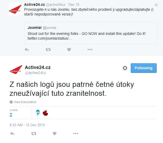 Varování před útoky na Joomla! u Active 24