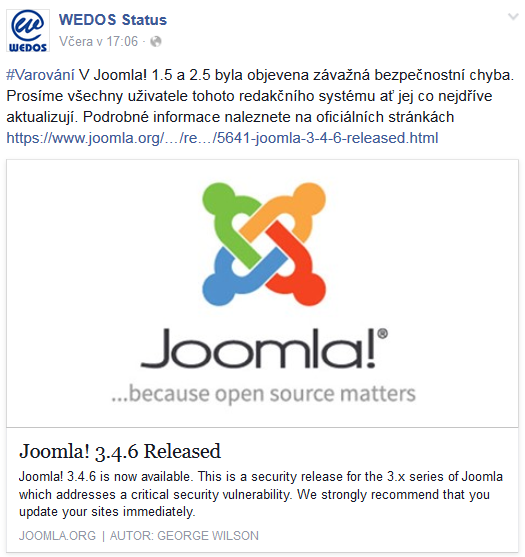 I největší poskytovat sdíleného webhostingu v Česku se přidal s varováním.
