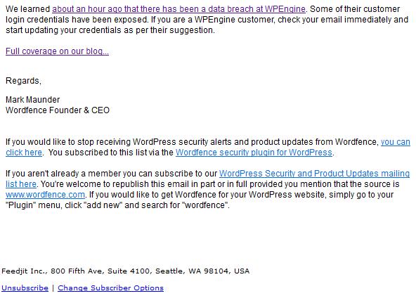 Varování WordFence o úniku dat ze služby WP Engine.