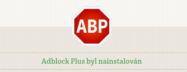 Po přidání rozšíření do prohlížeče se objeví uvítací zpráva a vedle adresního řádku malá ikonka AdBlock Plus.