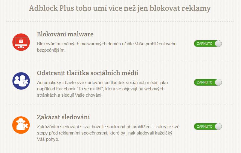 Součástí doplňku AdBlock plus je i ochrana proti šmírování třetích stran a návštěvou domén s malware.